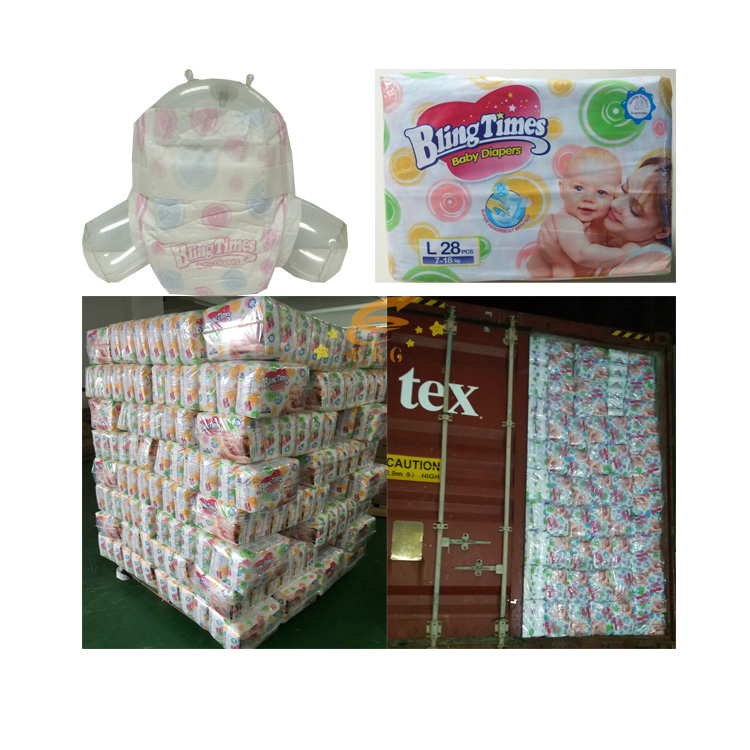 Loading huggies quality disposable sleepy baby diaper in bales best price manufacturer in China