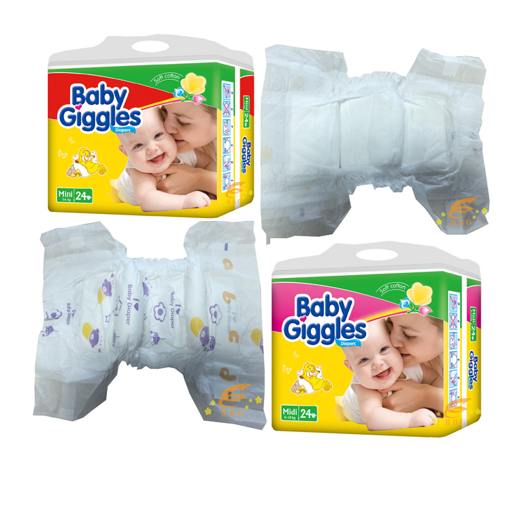 China pampering AA grade stock lot free sample soft  extra lovely disposable baby diaper in bales