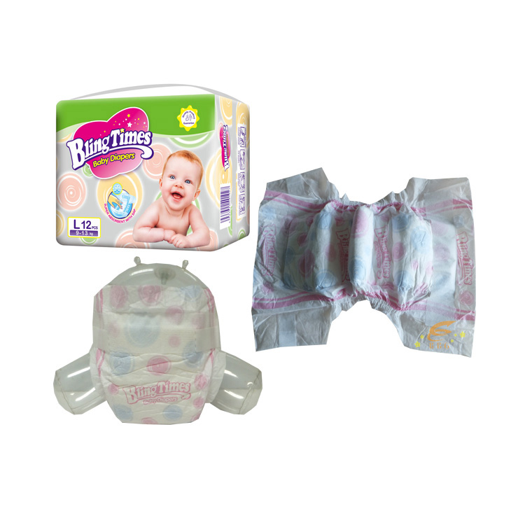 Clothlike non woven baby diapers with magic tape bling times pampers